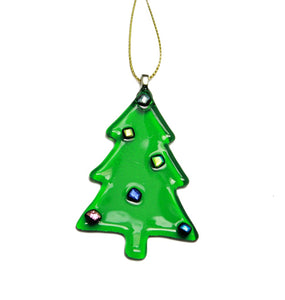 Green glass tree decoration