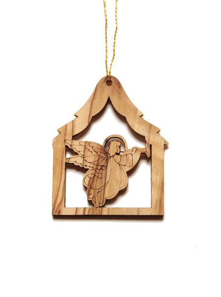 Olive wood angel decoration