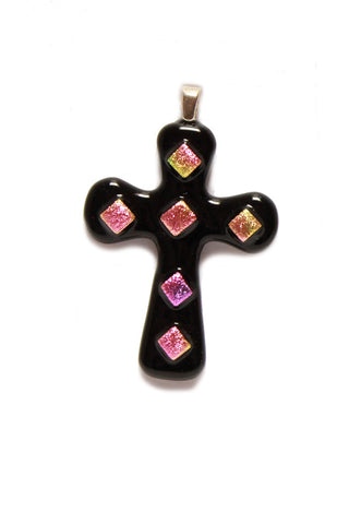 Black and pink glass cross pendant