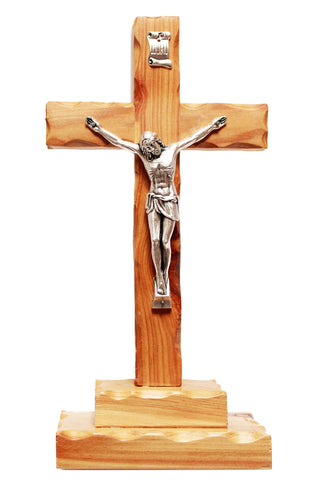 Large scalloped edge standing crucifix