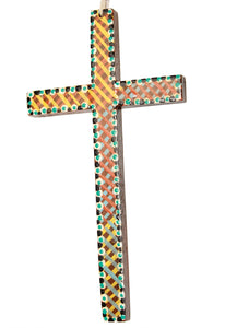 Robyn Davis wall cross orange/blue