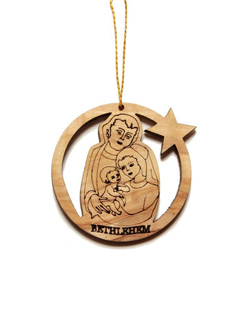 Olive wood round Holy Family decoration