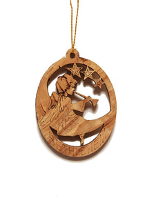 Olive wood oval angel decoration