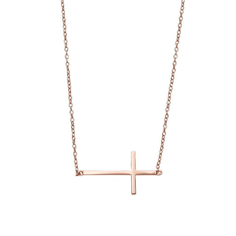 Rose gold inline cross necklace