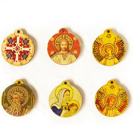 6 small wooden medallions printed with images from the mosaic reredos of St Paul's Cathedral including St Paul, Christ, angels, cross and Mother's union banner image
