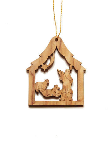 Olive wood shepherd decoration