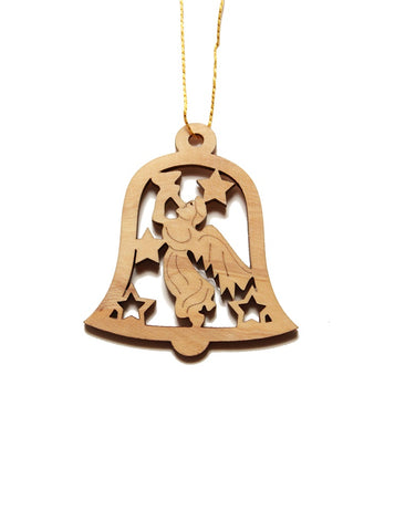 Olive wood bell angel decoration