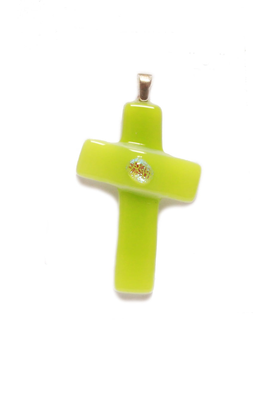 lime green fused glass pendant cross