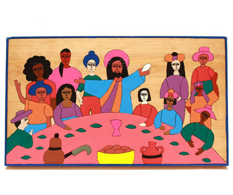 a simple painted depiction of the last supper on wood with bright block colour and men and women. bright pink pale blue, red green and orange
