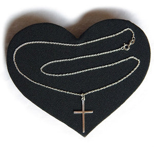 Large silver cross and chain