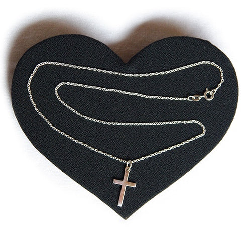 Medium silver cross and chain
