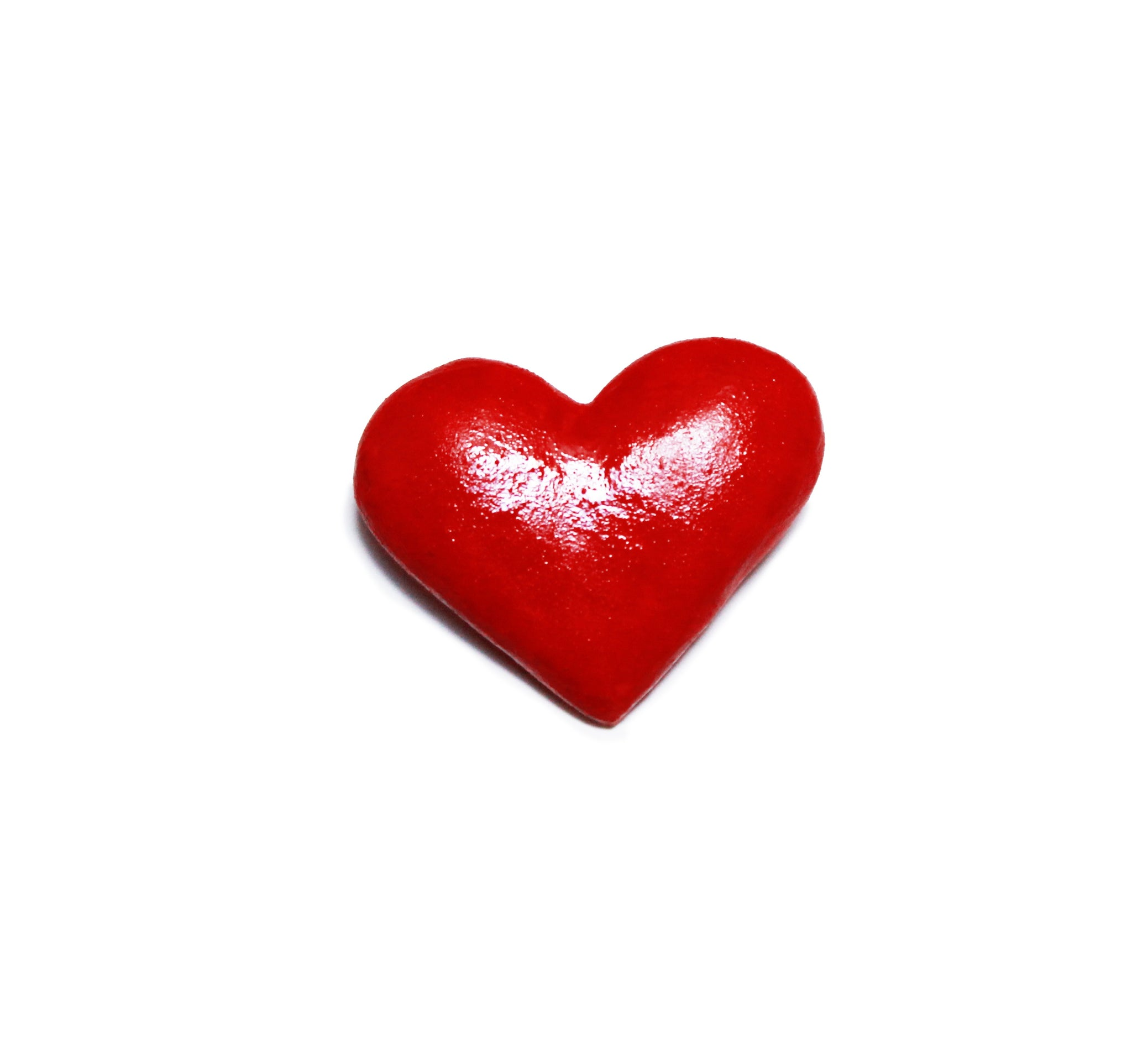 Red ceramic heart brooch