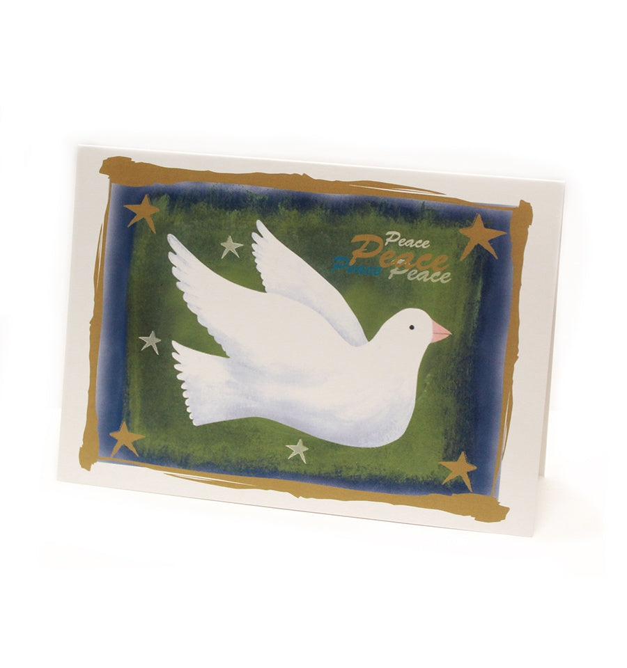 a simple painting of a white dove on a green background with a border of dark blue, gold and white and stars and the word peace