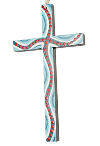Robyn Davis wall cross blue/red