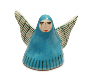 tiny blue procelain angel with detailed face