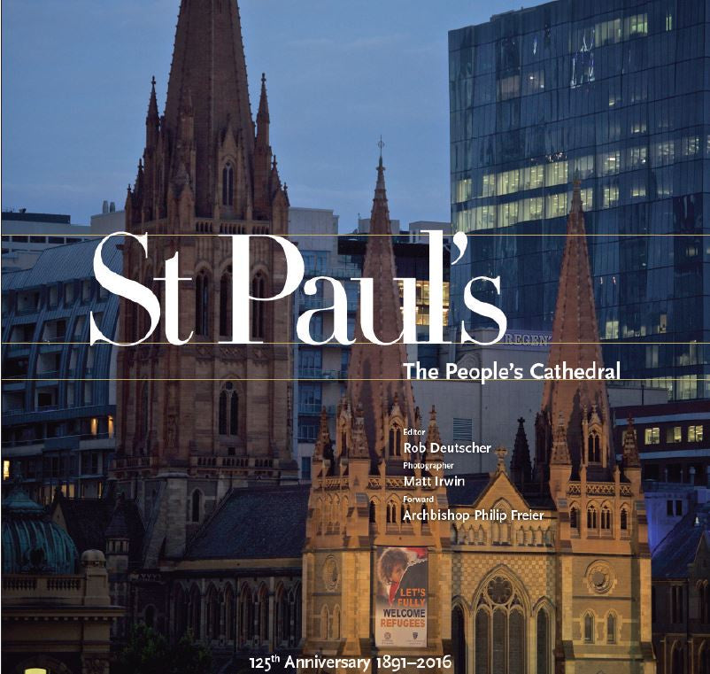 The cover of a large square hardcover book documenting activities at St Paul's Cathedral melbourne during its 125th year pictures of clergy, congregation, choir and events
