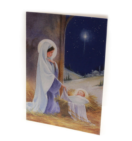 Blue Madonna Christmas card