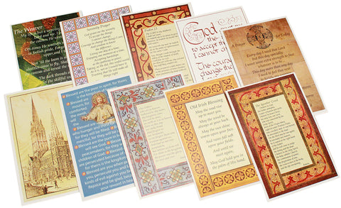 small laminated coloured cards featuring designs from the cathedral including mosaic tiles, architectural features and altar frontal. Old Irish Blessing, Lord's Prayer, Apostles Creed, Beatitudes, Prayer for today,Serenity prayer, Pslam 23, The weaver