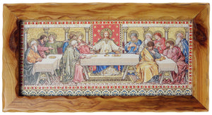a thick scalloped wooden frame surrounding a canvas print of the last supper mosaic from the reredos of St Paul's Cathedral Melbourne