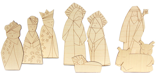 Flat wooden nativity