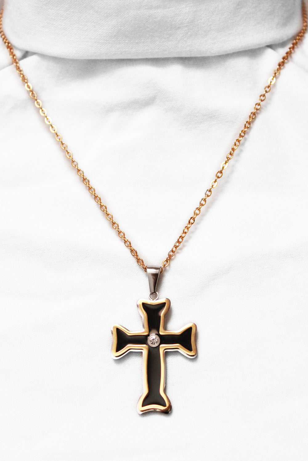 Gold & black steel cross & chain