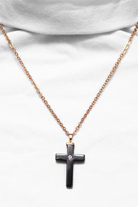 Haematite cross with gold chain