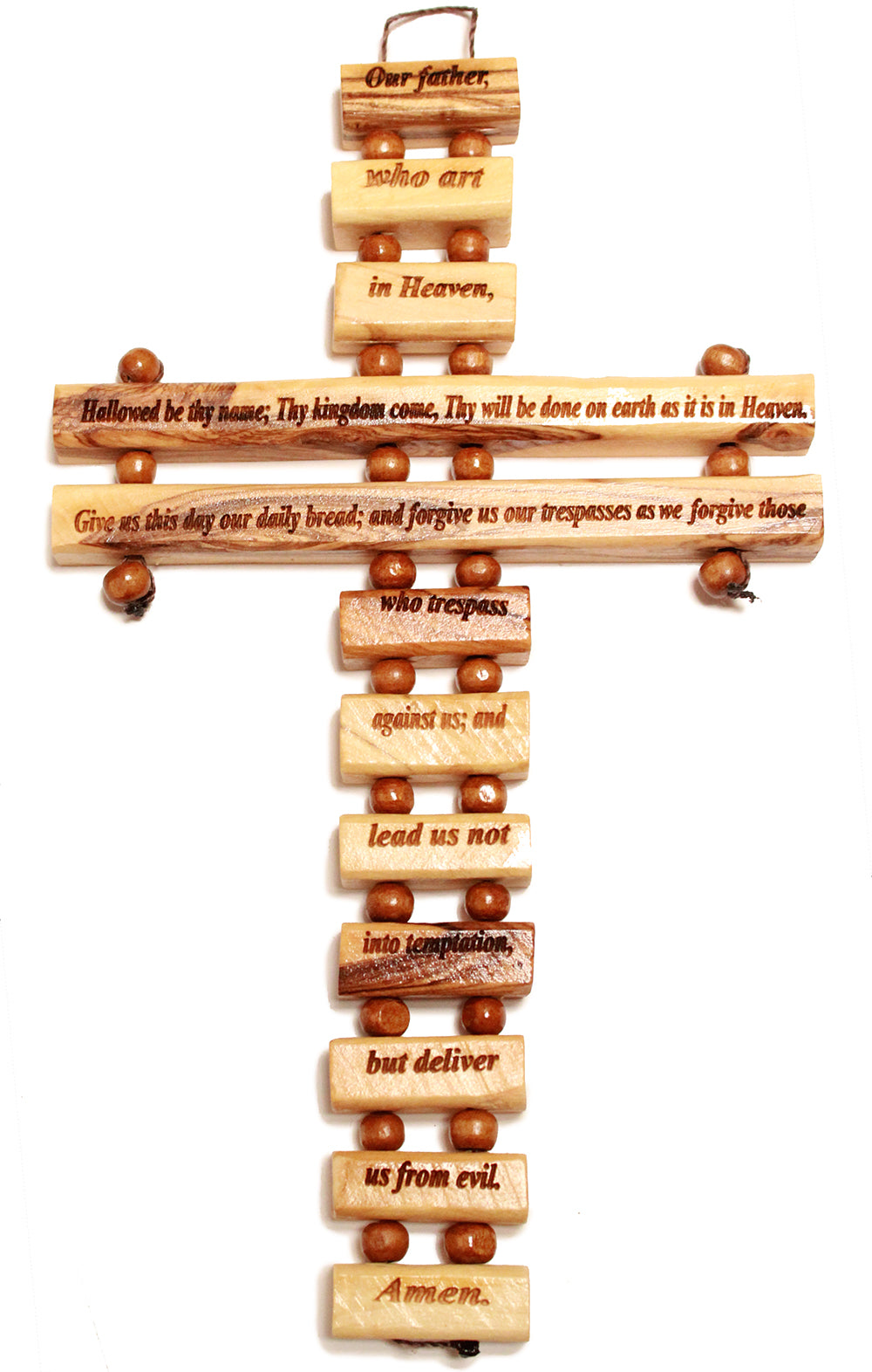 Olive wood Lord's Prayer hanging cross