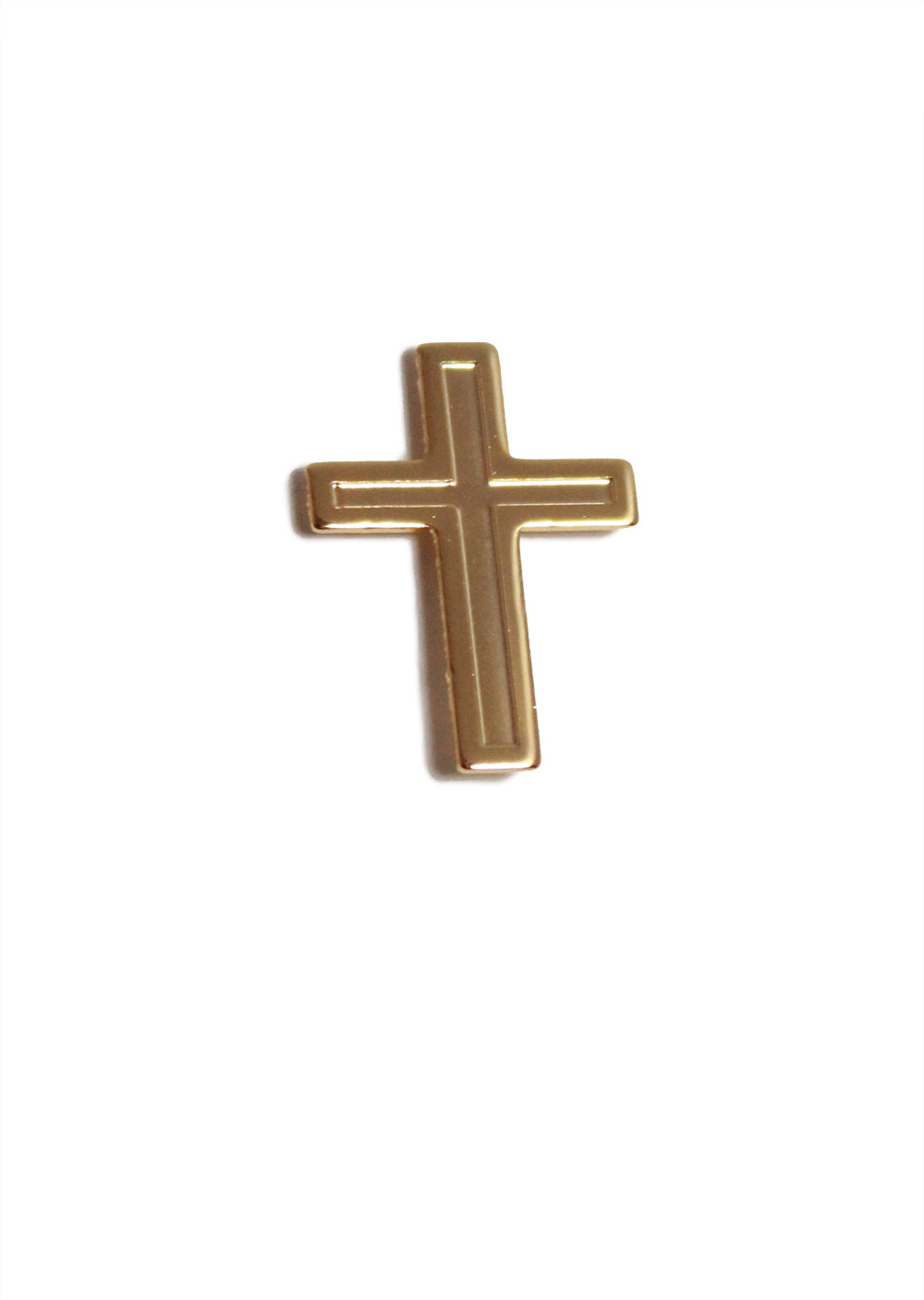 Gold lapel cross pin