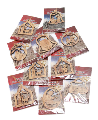 Olive wood decorations mixed designs