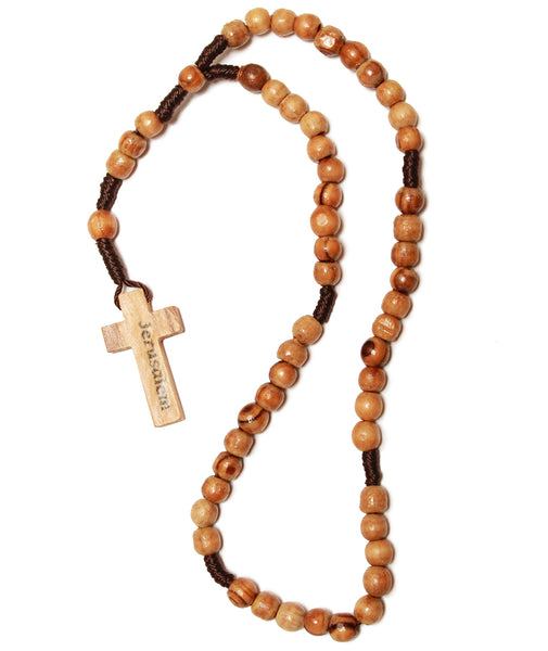 Olive wood cord rosary