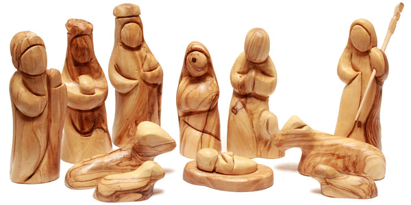 Large 12 piece olive wood nativity