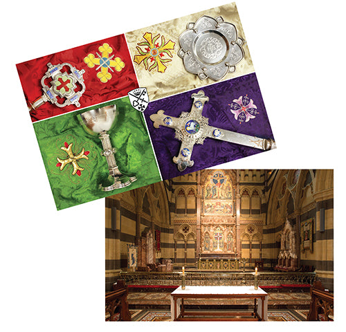 postcard showing seasonal veils in red, cream, green, and purple with silver verge, paten, challice and processional cross. postcard showing the high altar sanctuary of St Paul's cathedral Melbourne Australia