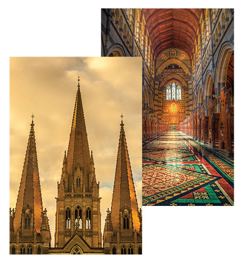 postcards of interior nave, exterior spires