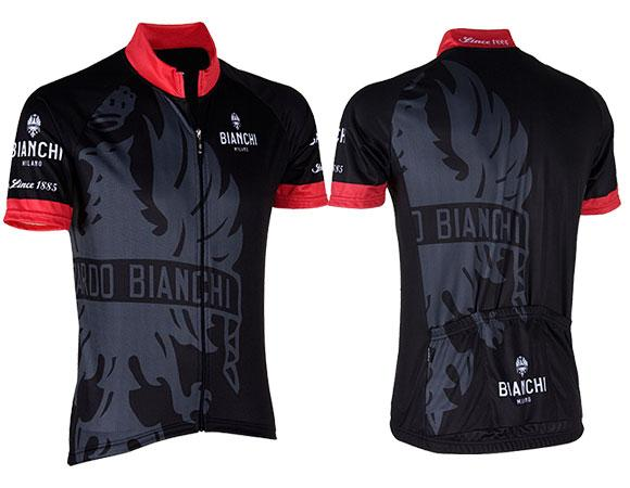 Bianchi Milano Cinca Long Zip Short Sleeve Jersey- Black - Classic Cycling