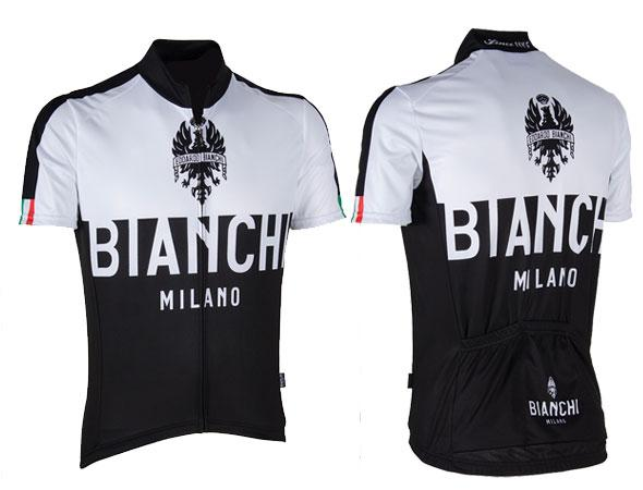 Bianchi Milano Nalon Long Zip Short Sleeve Jersey - Black-White - Classic Cycling