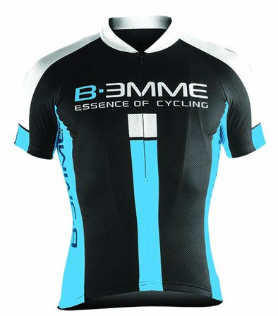 Biemme Identity Short Sleeve Jersey - Black-White-Sky Blue - Classic Cycling