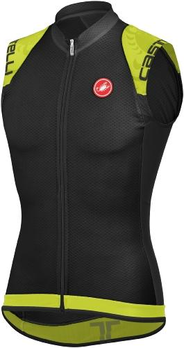 Castelli Entrata Sleeveless FZ - Black-Lime - Classic Cycling