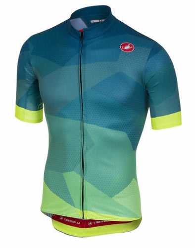 Castelli Flusso FZ Short Sleeve Jersey - Blue-Fluo - Classic Cycling