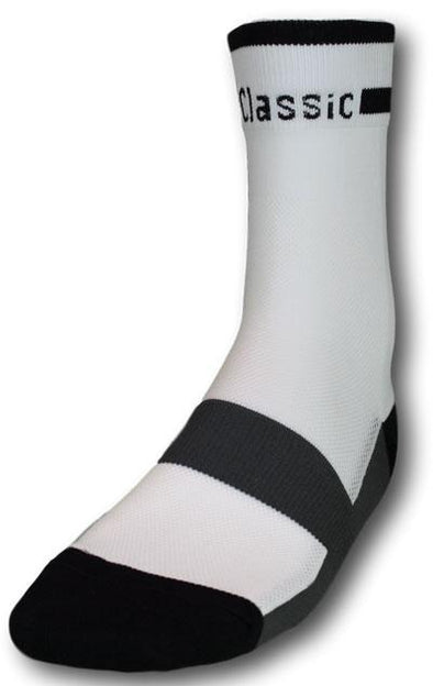 Classic Cycling Sock - White w- Black Accents - Classic Cycling