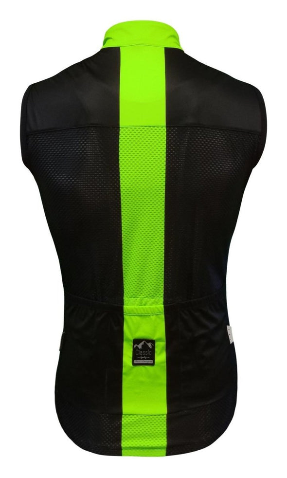 Classic Cycling Women's Wind Vest - Black with Fluo - Classic Cycling