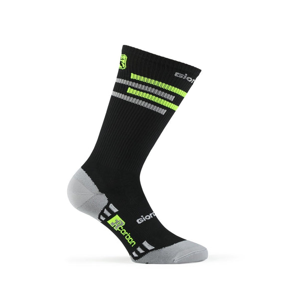 Giordana FR-C Sock, Tall Cuff - LINES Black-Fluo Yellow-White - Classic Cycling