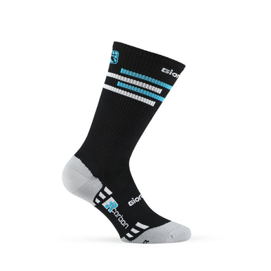 Giordana FR-C Sock, Tall Cuff - LINES Black-Sky Blue-White - Classic Cycling