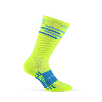 Giordana FR-C Sock, Tall Cuff - LINES Fluo Yellow-Blue - Classic Cycling