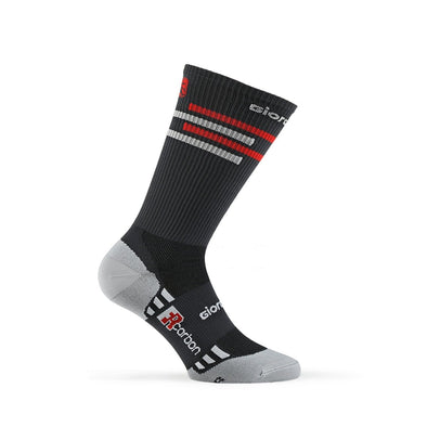 Giordana FR-C Sock, Tall Cuff - LINES GREY-Red-White - Classic Cycling