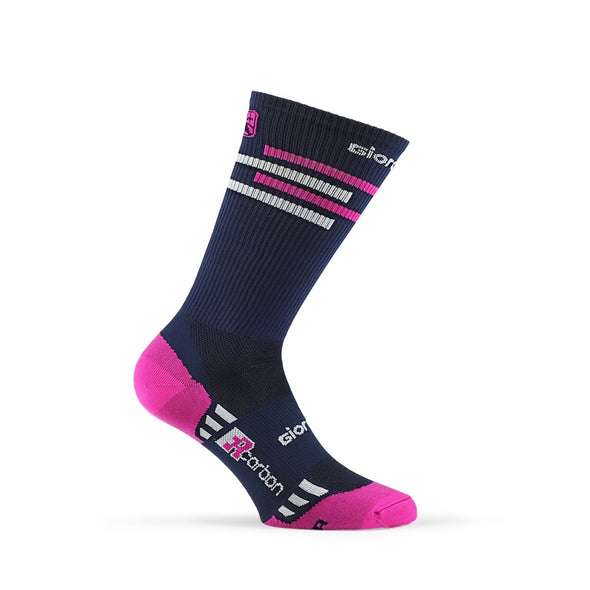 Giordana FR-C Sock, Tall Cuff - LINES Navy-Pink-White - Classic Cycling