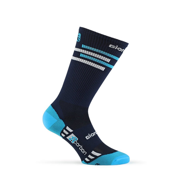 Giordana FR-C Sock, Tall Cuff - LINES Navy-Sky Blue-White - Classic Cycling