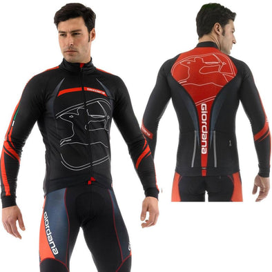 "Giordana FR-C Trade Long Sleeve Jersey ""Predator"" Black Red - Classic Cycling"