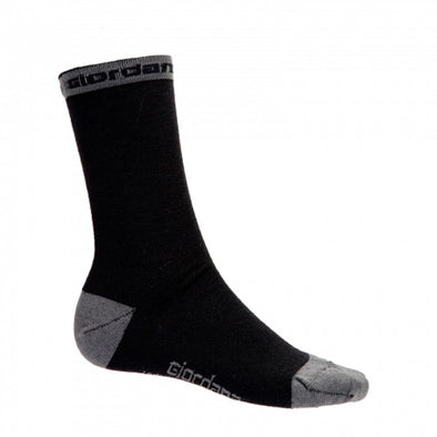 "Giordana Merino Wool 5"" Cuff Cycling Socks - Black w- Grey Accents - Classic Cycling"