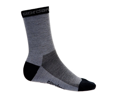 "Giordana Merino Wool 5"" Cuff Cycling Socks - Grey w- Black Accents - Classic Cycling"