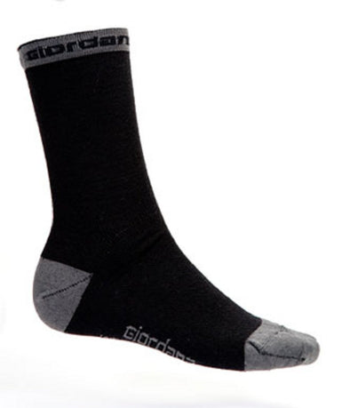 "Giordana Merino Wool 7"" Tall Cycling Socks - Black w- Grey accents - Classic Cycling"